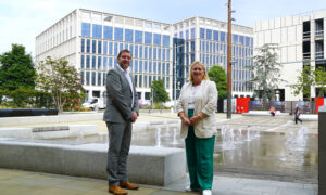 Phil Andrew and Sharon Appleby at Keel Square, Sunderland City Centre